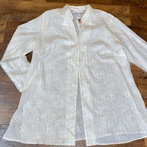 Susan Graver Cream Button Tunic & Shell sz 1X~Gold